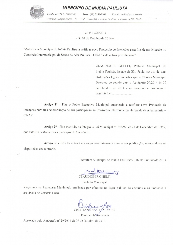 LEI DO MUNICÍPIO DE INÚBIA PAULISTA