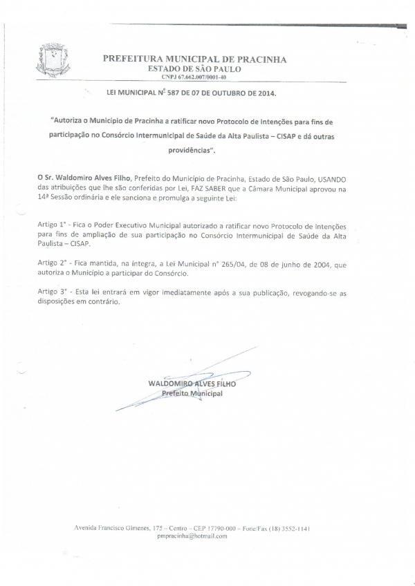 LEI DO MUNICÍPIO DE PRACINHA