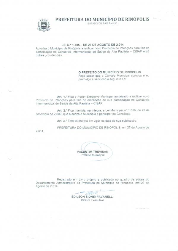 LEI DO MUNICÍPIO DE RINÓPOLIS