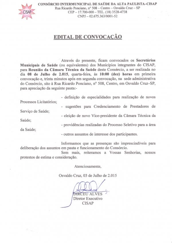 EDITAL CONVOCAÇÃO  - CISAP